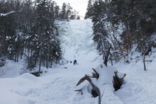Frozen Waterfall Arethusa Under Ice And Snow In The Winter