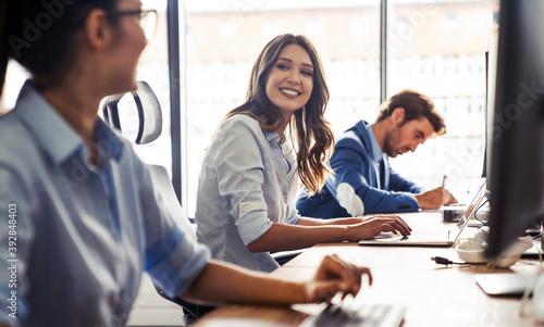 Fototapeta Startup programmer people group working everyday job at modern office obraz