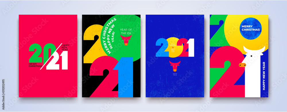 Fototapeta Creative concept of 2021 Happy New Year posters. Set of Design 2021 templates with typography logo for celebration and season decoration. Vector minimalistic trendy for branding, banner, cover, card.