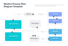 Modern Process Flow Diagram Template. Flat Infographic, Easy To Use For Your Website Or Presentation.