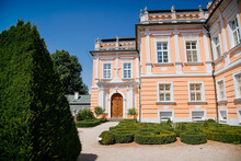 Pink Rococo Chateau Nove Hrady, Сastle With French Garden Called Small Schonbrunn Or Czech Versailles Near Litomysl In Summer Sunny Day, Pardubice Region, Czech Republic