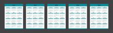 Calendar 2021, 2022, 2023, 2024, 2025 Week Starts Monday. Vector Calendar Template Design.