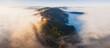 Das Sauerland im Morgennebel, Luftaufnahme, Olsberg, Nord Rhein Westfalen, Deutschland