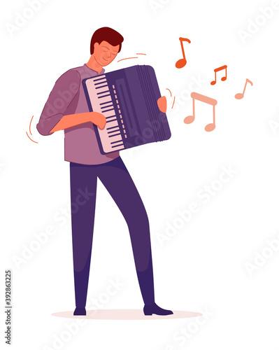 Fototapeta Excited accordionist boy isolated on white background