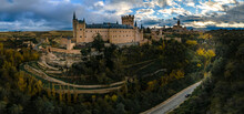 Panoramic View Of The Alcazar Castell Of Segovia From Drone