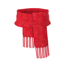 Red Wool Scarf On A White Background, 3D Render