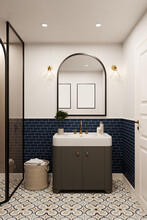 3d Rendering. Corner Of Hotel Bathroom With Blue Tiled Walls, Large Mirror, Pattern On The Floor And Shower. Classic Style.