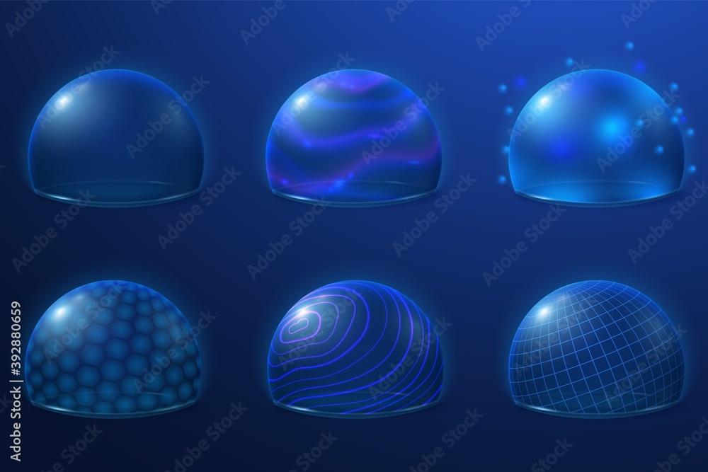 Fototapeta Bubble shields. Protect field, futuristic energy force safety bubbles. Transparent plasma surface, 3d security protection recent vector set. Illustration shield futuristic, bubble sphere energy