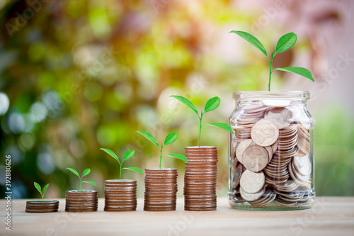 Fotografia Plant growing stacking of coins and full money in a glass jar for growing growth saving concept investment mortgage fund finance and interest, education, child, future on bokeh background