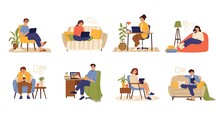 Remote Work Characters. Home Office, Business People Job With Computer. Flat Freelance Worker In Chair With Cat And Laptop Swanky Vector Set. Illustration Freelance People Work At Home