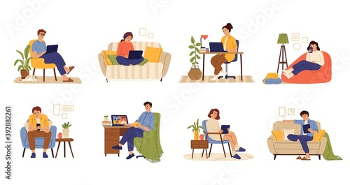 Obraz Remote work characters. Home office, business people job with computer. Flat freelance worker in chair with cat and laptop swanky vector set. Illustration freelance people work at home - fototapety do salonu