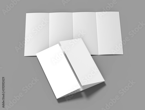Fotografía Double gate fold vertical four panel brochure blank white template for mock up and presentation design