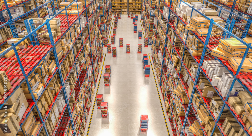 Fototapeta automated storage and shipping warehouse