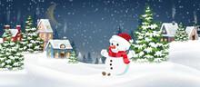 Winter Village With Snowman