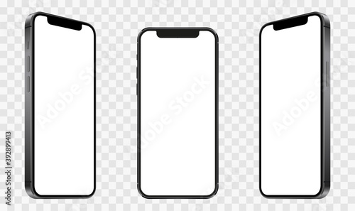 Obraz Realistic models smartphone with transparent screens. Smartphone mockup collection. Device front view. 3D mobile phone with shadow on transparent background - stock vector. - fototapety do salonu