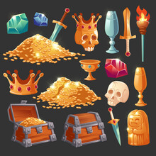 Cartoon Treasure Chest With Golden Coins, Crystal Magic Gems, Human Skull In Crown, Sword In Gold Pile And Goblet With Precious Rocks, Ancient Statue And Burning Torch Vector Illustration, Icons Set