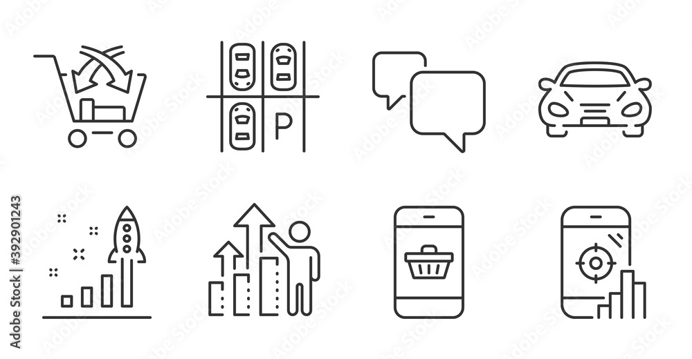 Fototapeta Seo phone, Speech bubble and Cross sell line icons set. Car, Parking place and Development plan signs. Employee results, Smartphone buying symbols. Search engine, Chat message, Market retail. Vector
