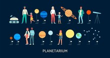 Planetarium Banner Template With People Flat Vector Illustration Isolated.
