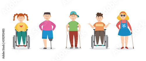 Injured children with crutches and bandages flat vector illustration isolated Wallpaper Mural