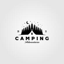 Camp Tent Logo In Pine Tree Vintage Vector Illustration Design