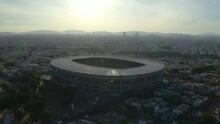 Drone Flies Backwards Above Jalisco Stadium In Guadalajara, Mexico. Daytime