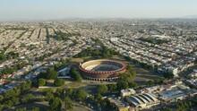 Drone Approaches Plaza De Toros Nuevo Progreso, Pan Down. Guadalajara, Mexico