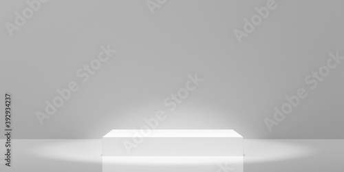 Empty modern abstract white room with elevated cubical platform in the center and spotlights, product presentation template background
