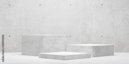 Obraz Modern abstract empty concrete room with three podiums in the center, product presentation template or winning ceremony background - fototapety do salonu