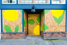 A Mural On A Boarded Up Storefront During The Coronavirus Pandemic