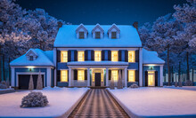 3d Rendering Of Modern Cozy Classic House In Colonial Style With Garage And Pool For Sale Or Rent With Beautiful Landscaping On Background. Cool Winter Night With Cozy Light From Windows.