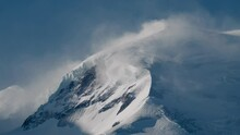 Strong Wind Blown Snow On The Shoulder Of Mont Blanc (Dome Du Gouter)