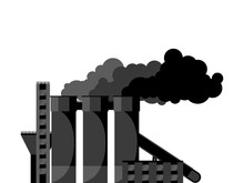 A Factory With Smoking Pipes Of A Processing Plant, A Cement Plant. Industrial Concept, Monochrome Vector Illustration In Black And Gray, Isolated Flat Image On A White Background