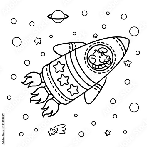 Obraz Dog in a rocket spaceship. Star galaxy. Cute cosmonaut dog in outer space. Vector illustration on the space theme in childish style. Picture for coloring book. - fototapety do salonu