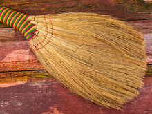 Wicker Broom Made Of Sorghum For Indoor Sweeping. Broom For Sweeping The Floor. House Cleaning. Cleaning Of Office Premises. Cleanliness And Tidiness. Cleaning Of The Territory. Tool.