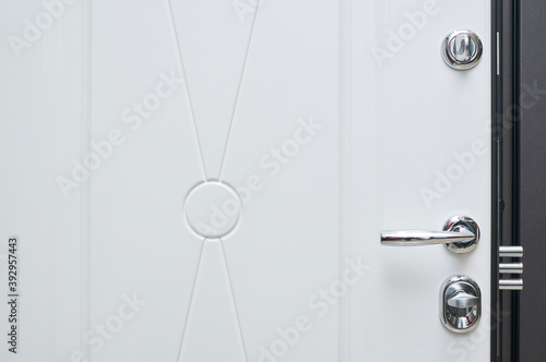details in steel color in metal entrance door in white on the inside Poster Mural XXL