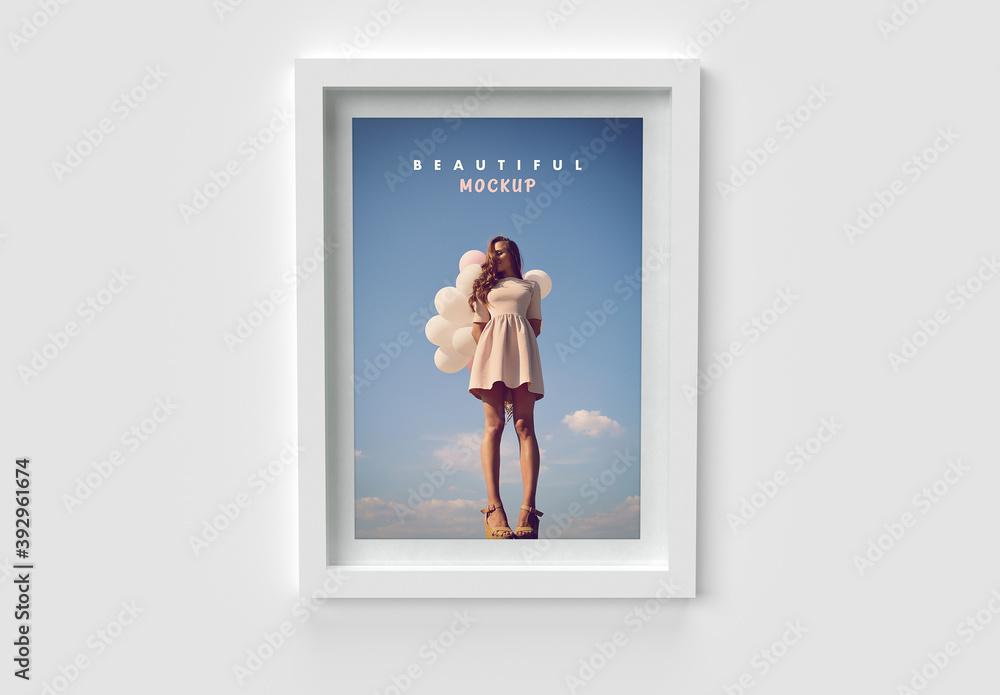 Fototapeta Modern White Minimalistic Frame Front View Mockup