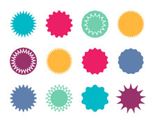 Starburst Badge. Circle Stickers With Jagged Edges. Round Shapes For Price And Promo. Blank Pricetag For Sale. Red, Blue, Green Label For Promotion, Website And Design. Colorful Graphic Stars. Vector