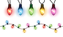 Vector Realistic Glowing Colorful Christmas Lights In Seamless Pattern And Individual Hanging Light Bulbs Isolated On White Background