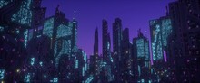 Neon Urban Future. Panorama Of A Futuristic City. Wallpaper In A Cyberpunk Style. 3D Illustration. Huge Futuristic Skyscrapers Glowing With Neon Light Against The Background Of The Purple Night Sky.
