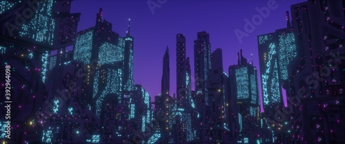 Fototapeta Neon urban future. Panorama of a futuristic city. Wallpaper in a cyberpunk style. 3D illustration. Huge futuristic skyscrapers glowing with neon light against the background of the purple night sky. obraz