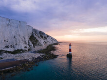 Aerial Drone Landscape Photo Of A Beachy Head Lighthouse