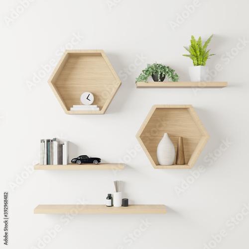 Vászonkép wooden Hexagon shelf little tree, books and toys copy space, mock up, hexegon
