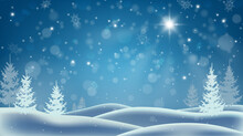 Shining Christmas Star. Winter Night. Snowstorm In The Forest. Deep Drifts And Falling Snowflakes. Christmas Background.