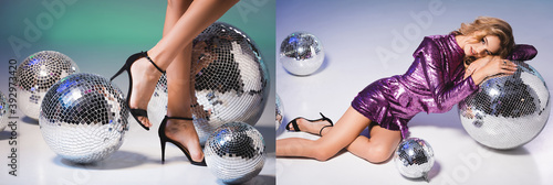 Fotografía collage of elegant woman in sequin dress with disco ball and female legs, banner