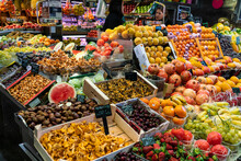 Grocery And Fruit Stand At The Boqueria Market In Barcelona