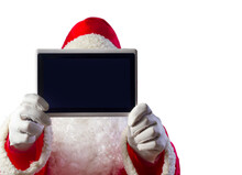Santa Claus Showing One Mobile Tablet Computer Isolated In White Background