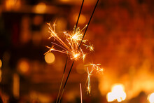 Sparklers Close Up, New Year Festive Mood