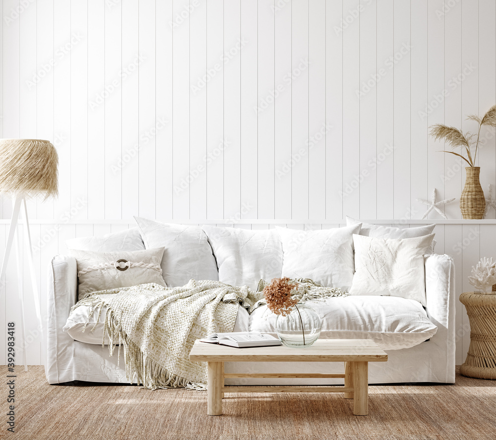Fototapeta Cozy home interior background, Coastal style living room, 3d render