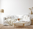 canvas print picture Cozy home interior background, Coastal style living room, 3d render