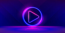 Wide Gaming Background With Glowing Play Button. Press To Play. Start Button.